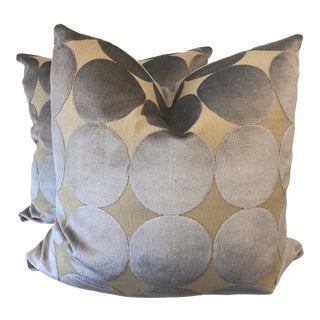 "Robert Allen ""Plush Dotscape"" in Dove 22"" Pillows-A Pair For Sale"