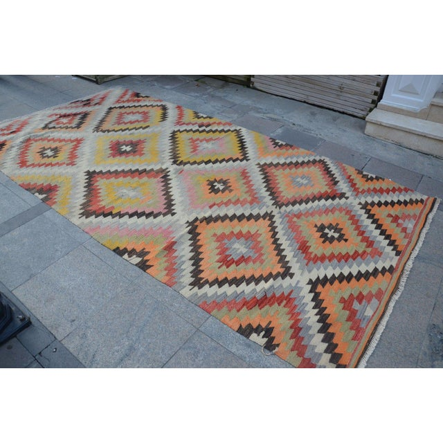 Vintage Turkish Kilim Rug - 5′4″ × 10′7″ - Image 2 of 6