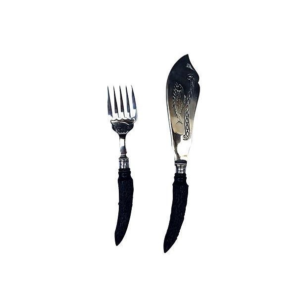 Victorian English Antler Handle Fish Serving Set - Set of 2 For Sale