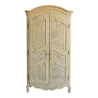 1990s French Country Henredon Cream Armoire For Sale