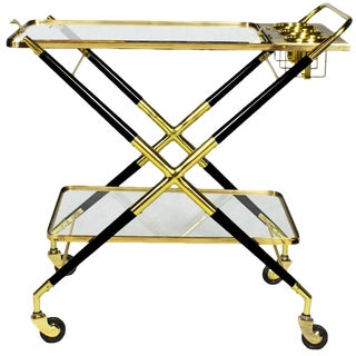 1950s Bar Cart with Tray by Cesare Lacca, Beech, Brass and Glass, Italy For Sale