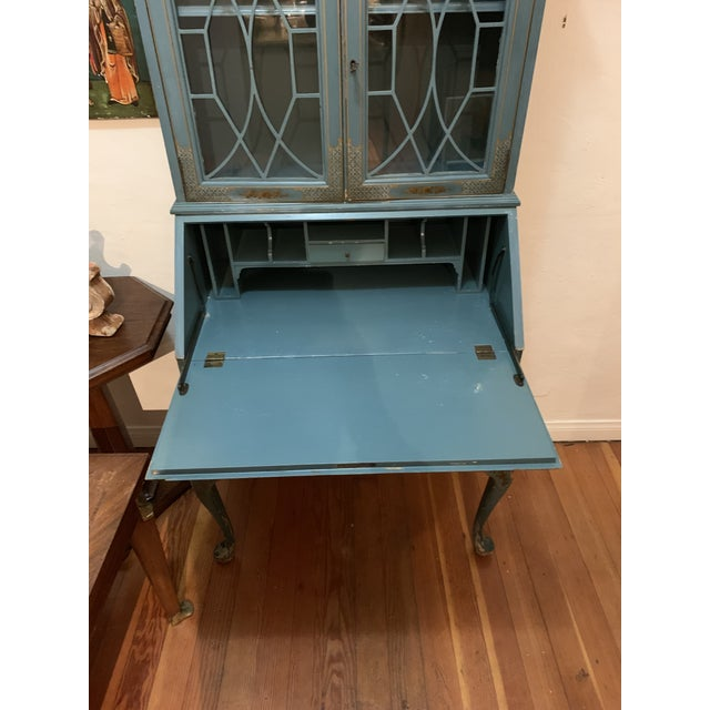 Mid Century Hand Painted Chinoiserie Blue Secretary Desk For Sale - Image 11 of 12