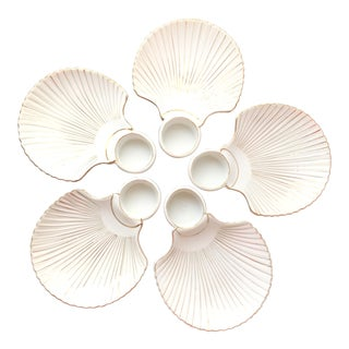 Vintage Cocktail Shrimp Oyster Seafood Shell Plate Set of 5 Servers White Ceramic Gold Japan