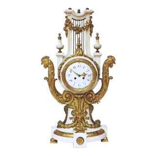 French Louis XVI-Style Marble and Gilt Bronze Lyre-Form Clock For Sale