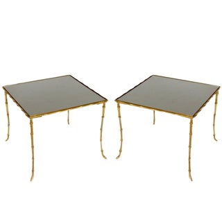 Pair of Small Brass Side Tables For Sale