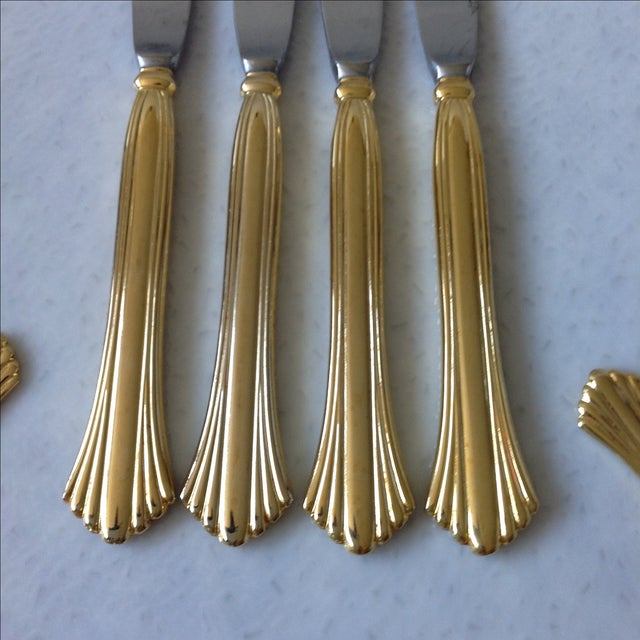 Art Deco Gold Tone Flatware by Cambridge - Set of 20 For Sale - Image 3 of 7