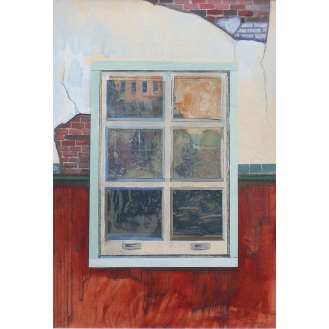 """Robert S. MOSKOWITZ (1935 -2001), """"Window"""". The piece is a mixed media - acrylic, paper, pencil, foil painting. Signed on..."""