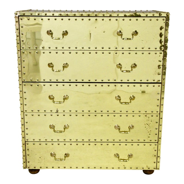 Sarreid Brass-Clad Dresser For Sale