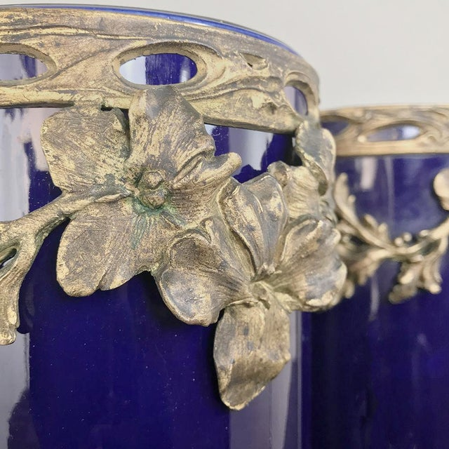 Late 19th Century Pair 19th Century Cobalt Porcelain & Bronze Vases For Sale - Image 5 of 12