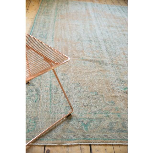 "Green Vintage Distressed Oushak Carpet - 6'4"" X 9'10"" For Sale - Image 8 of 12"