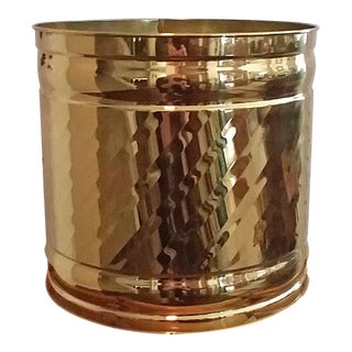Bristol Round Swirl Brass Planter For Sale