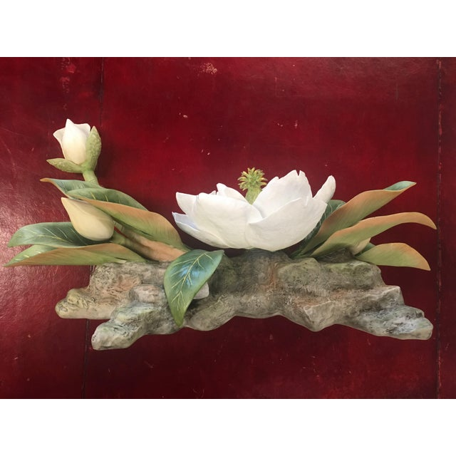 "Vintage Hand-Fashioned Boehm Porcelain Bisque Centerpiece ""Magnolia Grandiflora"" Signed by Helen Boehm For Sale - Image 9 of 9"