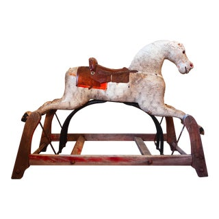Large Antique Painted Rocking Horse For Sale