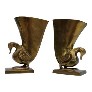 Vintage Brass Swan Planter Bookends - a Pair For Sale