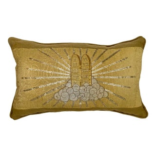 Metallic Gold Pillow with Late 18th Century Gold & Silver Metallic Wire Embroidery For Sale