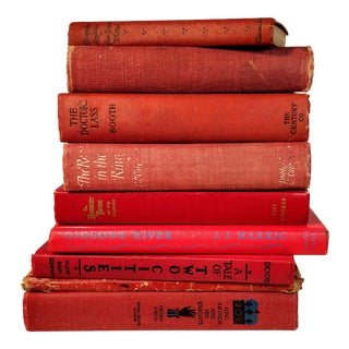 Vintage Red Library Books - Set of 9 For Sale