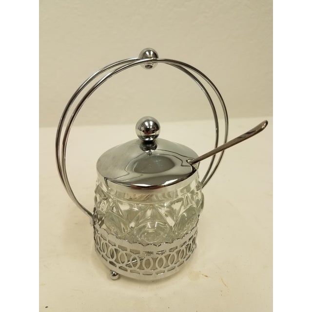 Antique English Jelly Condiment Jar with Silver Plate Top and Spoon We like this jar because it would bring sophistication...