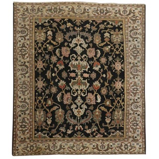 1890's Antique Persian Black Sultanabad Rug, 08'09 X 10'01 For Sale