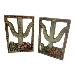 Modernist Love Enamel Bookends For Sale