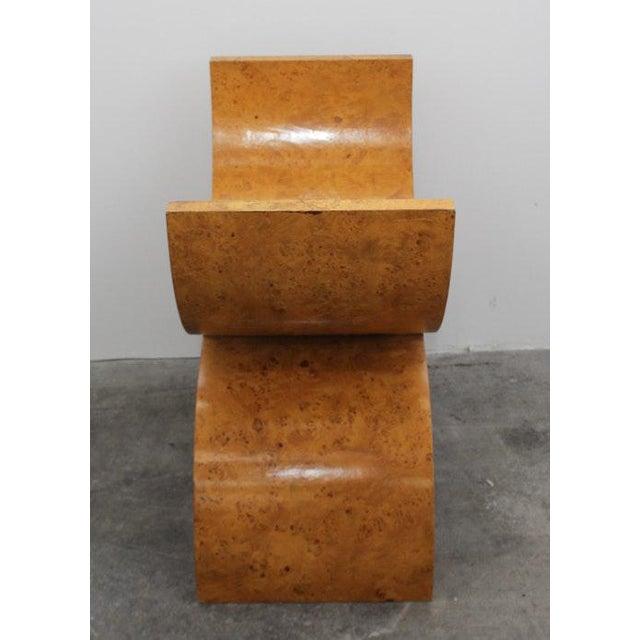 Stylish Modern Burlwood Bench Designed By Jay Spectre. A beautiful seating piece.