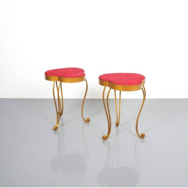 Pair of Pier Luigi Colli Gold Iron Clover Stools Red Fabric, Italy, 1950 For Sale - Image 6 of 9