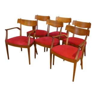 "Set of 6 Mid-Century Modern Drexel ""Declaration"" Line Walnut Dining Chairs 1950s For Sale"