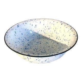 Early 20th Century Rustic Porcelain Glazed French Blue Splatter Basin/Bowl, Vintage For Sale