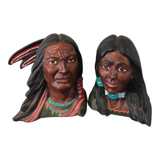 Antique American Indian Chalk Ware Busts - a Pair