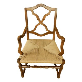 19th Century French Provincial Walnut Armchair W/ Rush Seat For Sale