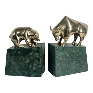 Bear and Bull Bookends Stock Market Brass Solid Green Stone MCM - a Set For Sale