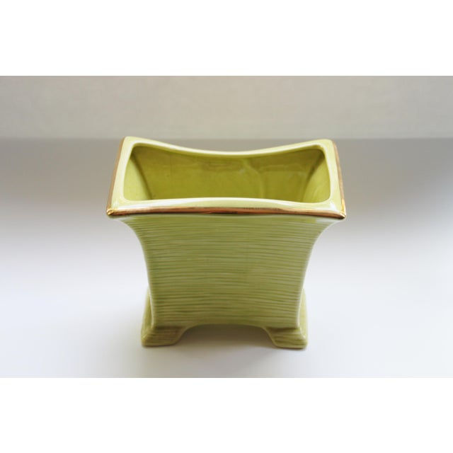 Mid-Century Modern Mid Century Modern Chartreuse & Gold Planter For Sale - Image 3 of 4