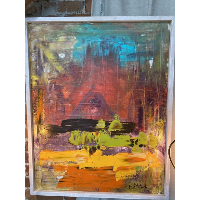 Red Late 20th Century Abstract Expressionist Oil Painting, Framed For Sale - Image 8 of 9