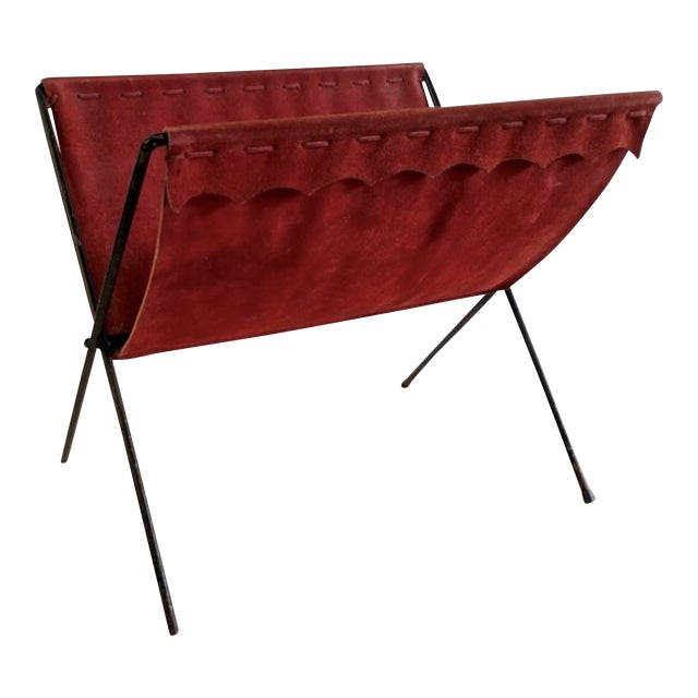 Red Suede + Iron Magazine Holder For Sale