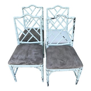 Shabby Chic Vintage Faux Bamboo Chinese Chippendale Chairs-Four For Sale