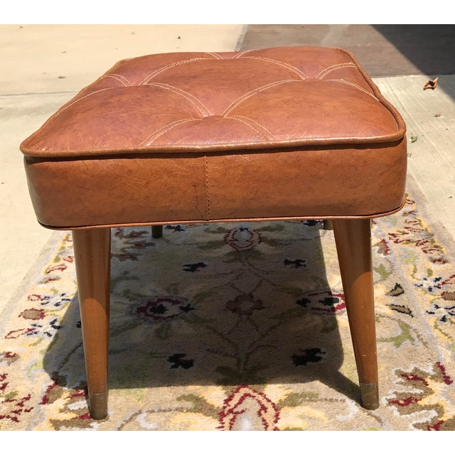 Mid-Century Brown Naugahyde Hassock Footstool - Image 5 of 11