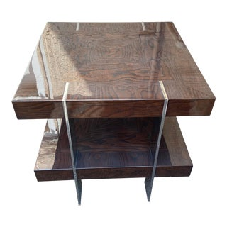 Contemporary Two-Tier Wood Lacquer and Chrome Table For Sale