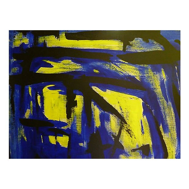 Mid-Century Modern Blue & Yellow by Bert Miripolsky For Sale - Image 3 of 4