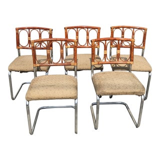 Crespi Style Bamboo & Chrome Cantilevered Chairs - Set of 5 For Sale