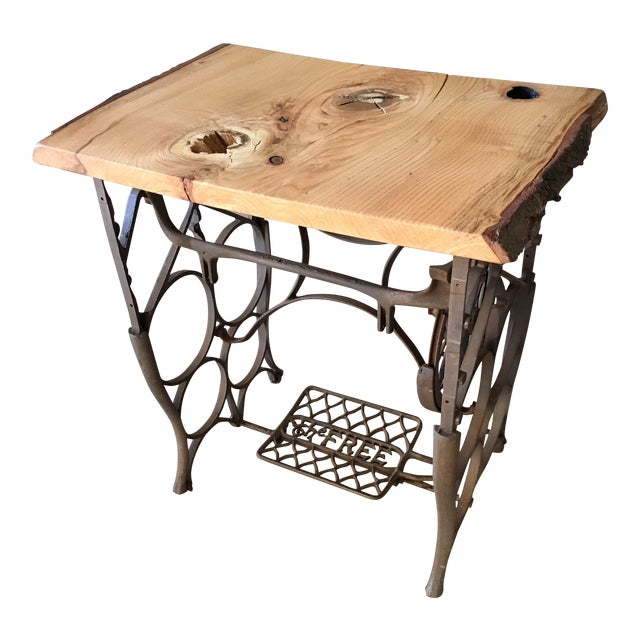 Live Edge Console with Sewing Machine Base For Sale