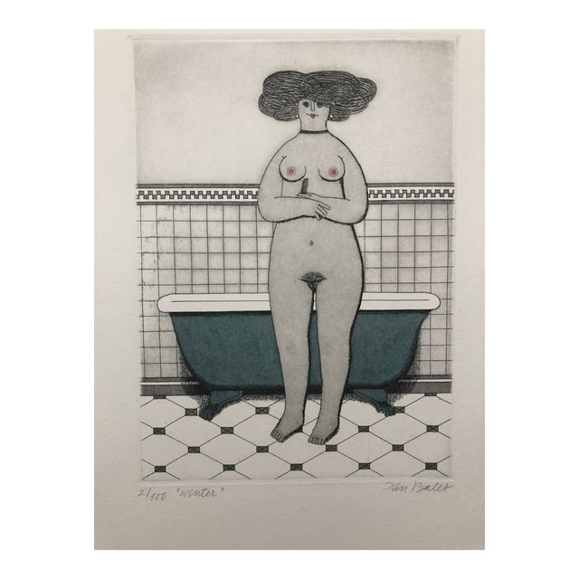 Female Nude Etching Winter Jan Balet Etching 1960s For Sale