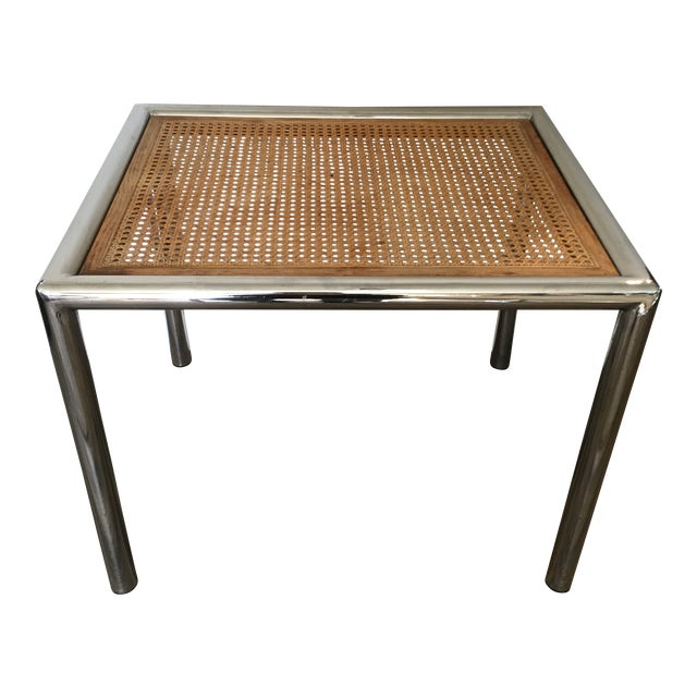 1950s Contemporary Marcel Breuer Chrome & Cane Accent Table For Sale
