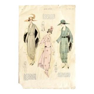 Antique 1919 Fashion Illustrations For Sale