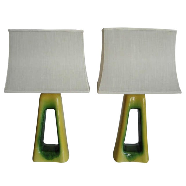 Pair of Oversized Mid-Century Ceramic Lamps For Sale