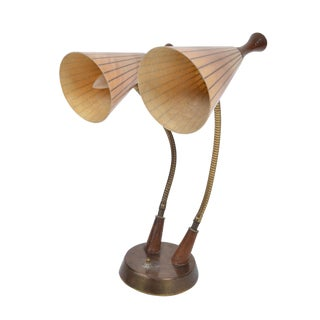 Danish Modern Dual Table Lamp Walnut and Fiberglass For Sale