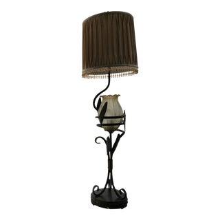 1920s Style Illuminated Base Tulip Shaped Table Lamp For Sale