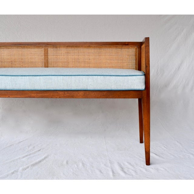 1950s Walnut Window Bench Attributed to Edward Wormley for Dunbar For Sale - Image 12 of 13