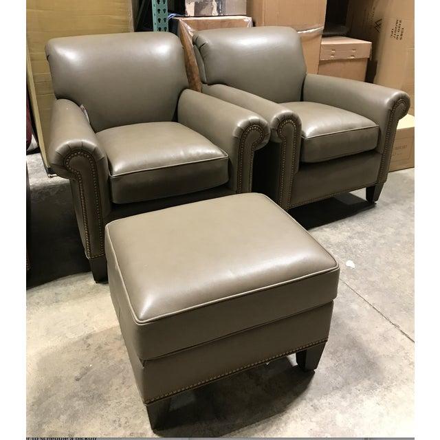 Hancock & Moore Leather Studio Chairs & Ottoman - Set of 3 - Image 7 of 7
