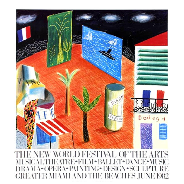1982 Vintage David Hockney Miami Beach Arts Festival Exhibition Poster For Sale In Tampa - Image 6 of 6