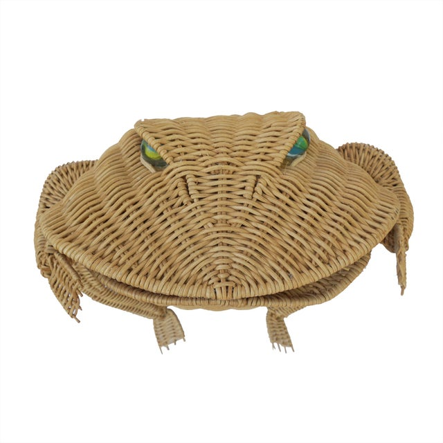 1970s Vintage Whimsical Rattan Wicker Frog Basket For Sale - Image 9 of 11