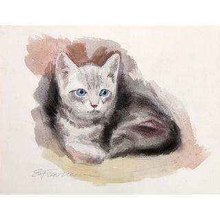 Erik Freyman, American Wirehair Kitten, Watercolor For Sale
